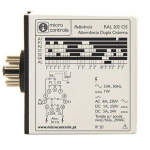 Relé de alternancia para mando alternado de dos electrobombas en cisterna - RAL 202 CIS - Vista de Lado