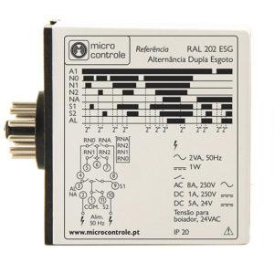 Relé de alternancia para alternar de dos electrobombas en esgoto - RAL 202 ESG - Vista de Lado