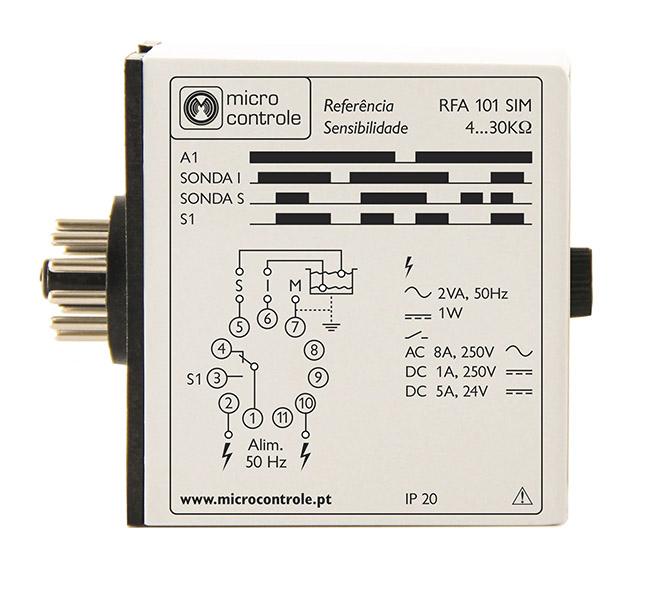 Relé de control de seguridad con protección de electrobombas para furo - RFA 101 SIM - Vista de Lado