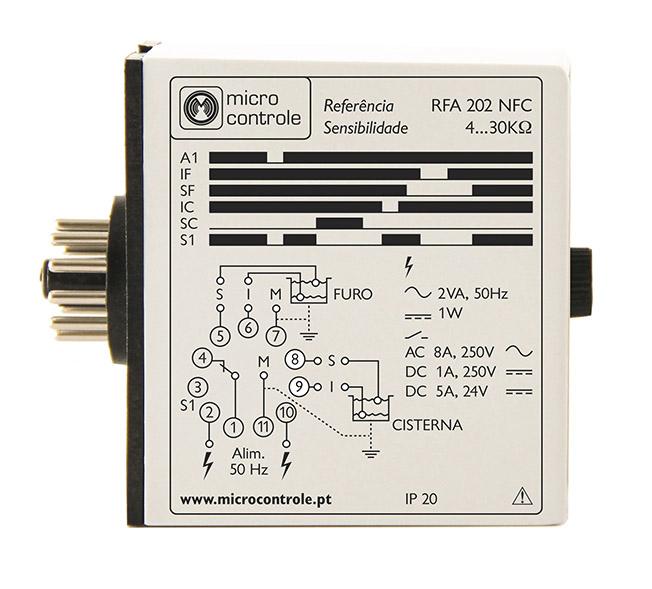 Relé de control de esvaziamiento de furo o pozo con la protección de electrobombas para furo o depósito - RFA 202 NFC - Vista de Lado