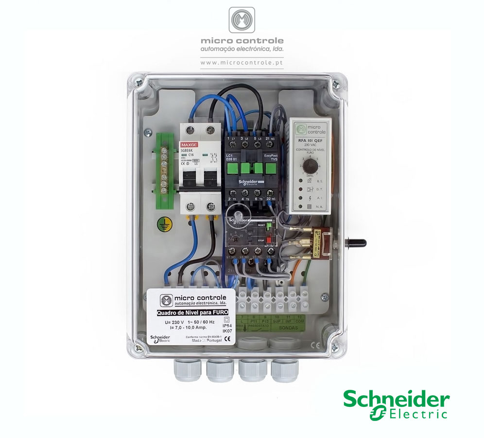 Quadro Eletrónico de Nível para Furo, com contactor e térmico Schneider - Vista de Baixo (Bucins - Entradas)