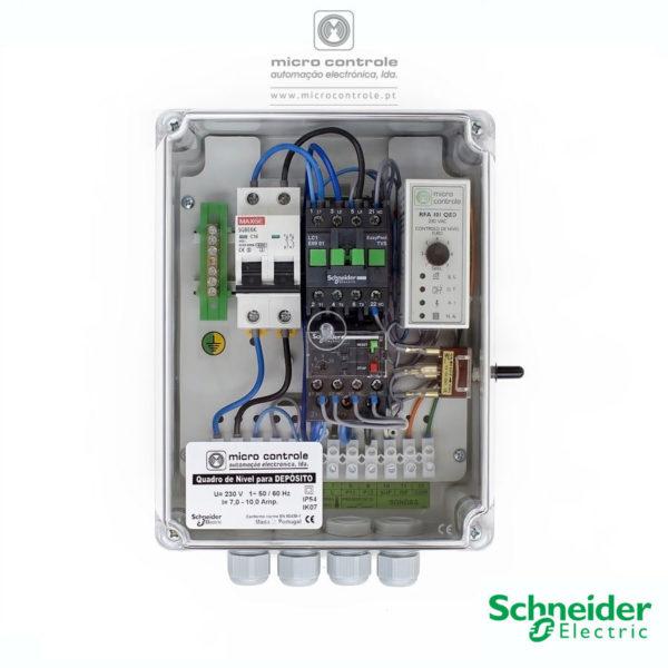 Quadro Eletrónico de Nível para Depósito, com contactor e térmico Schneider - Vista de Topo