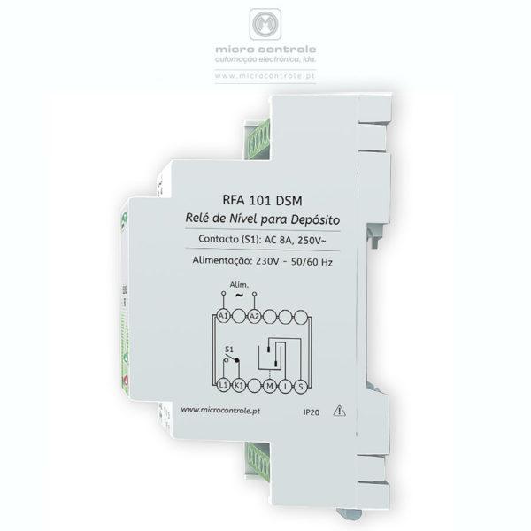 """Relé de controlo de nível para enchimento de depósito, com indicação de """"Nível Alto"""" e """"Falta de Água"""" - Vista Lateral"""