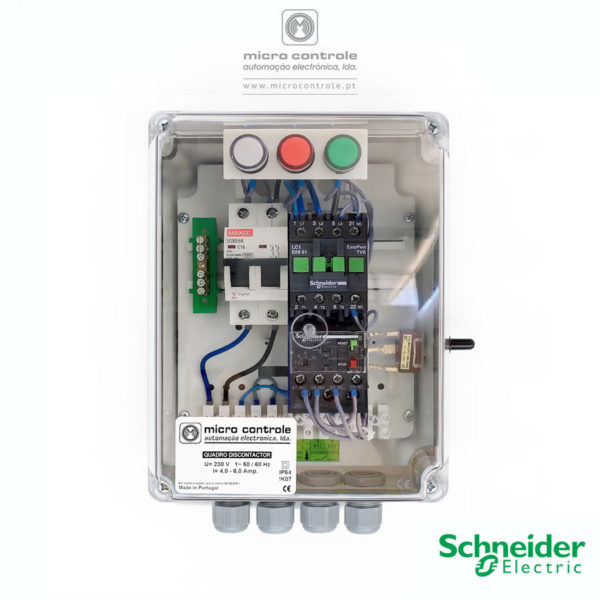 Quadro Discontactor para controlo e proteção de eletrobombas utilizadas no abastecimento de água sob pressão. Contactor e relé térmico Schneider.