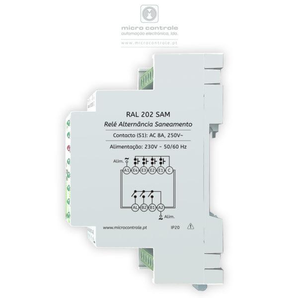 Relé de Alternância Dupla para Centrais de Saneamento-RAL-202-SAM-Vista Lateral